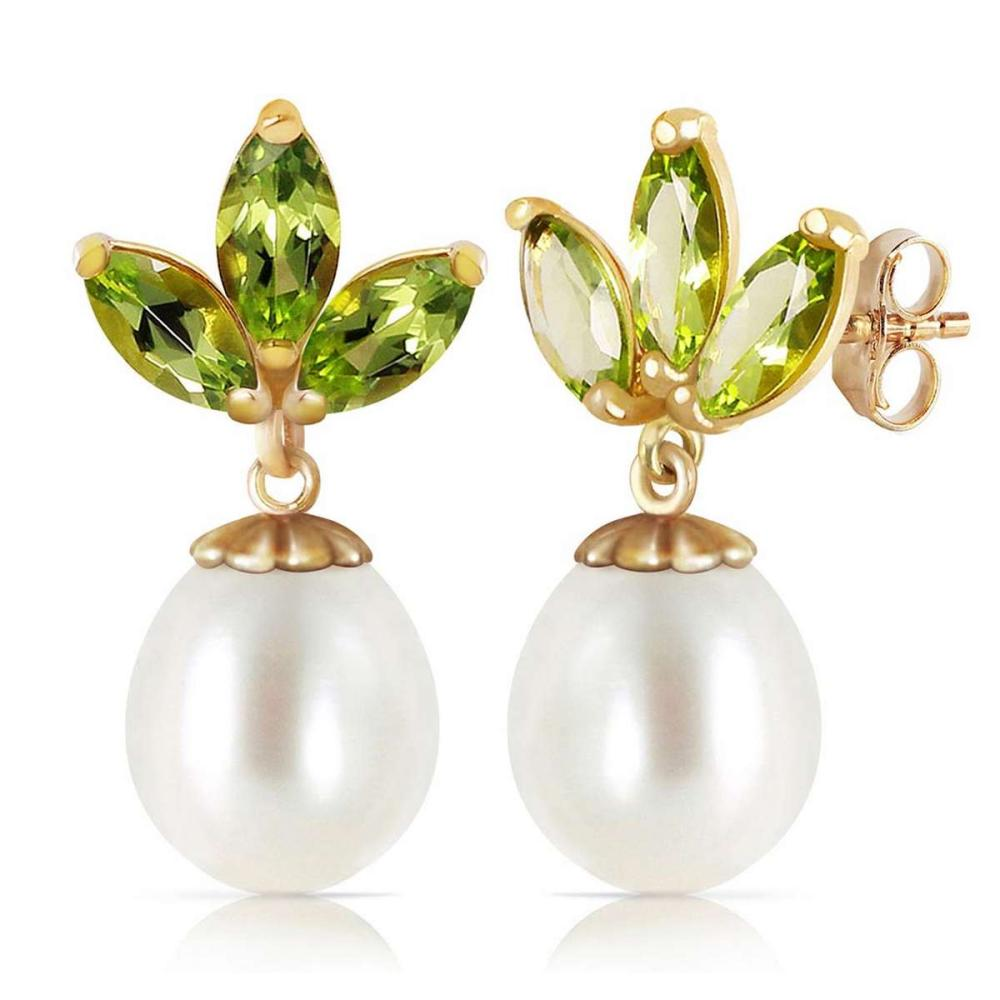 9.5 Carat 14K Solid Gold Dangling Earrings pearl Peridot