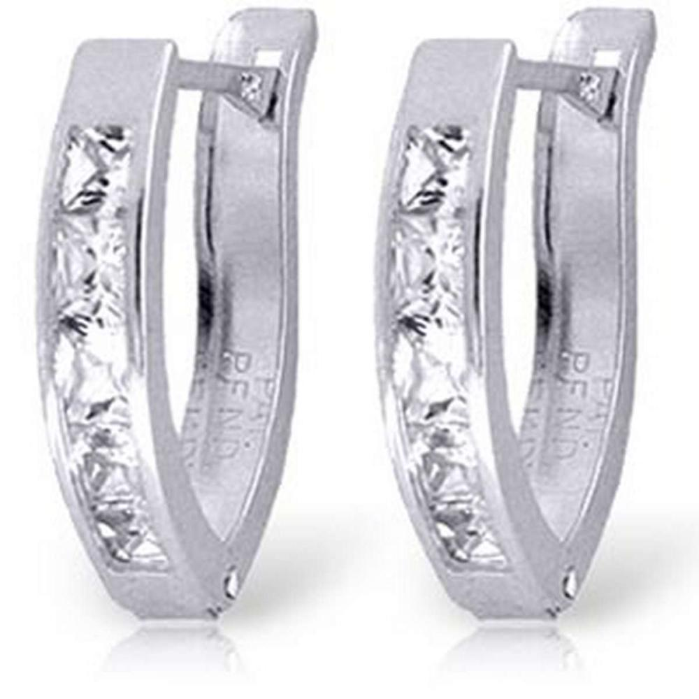 1.2 CTW 14K Solid White Gold Oval Huggie Earrings White Topaz