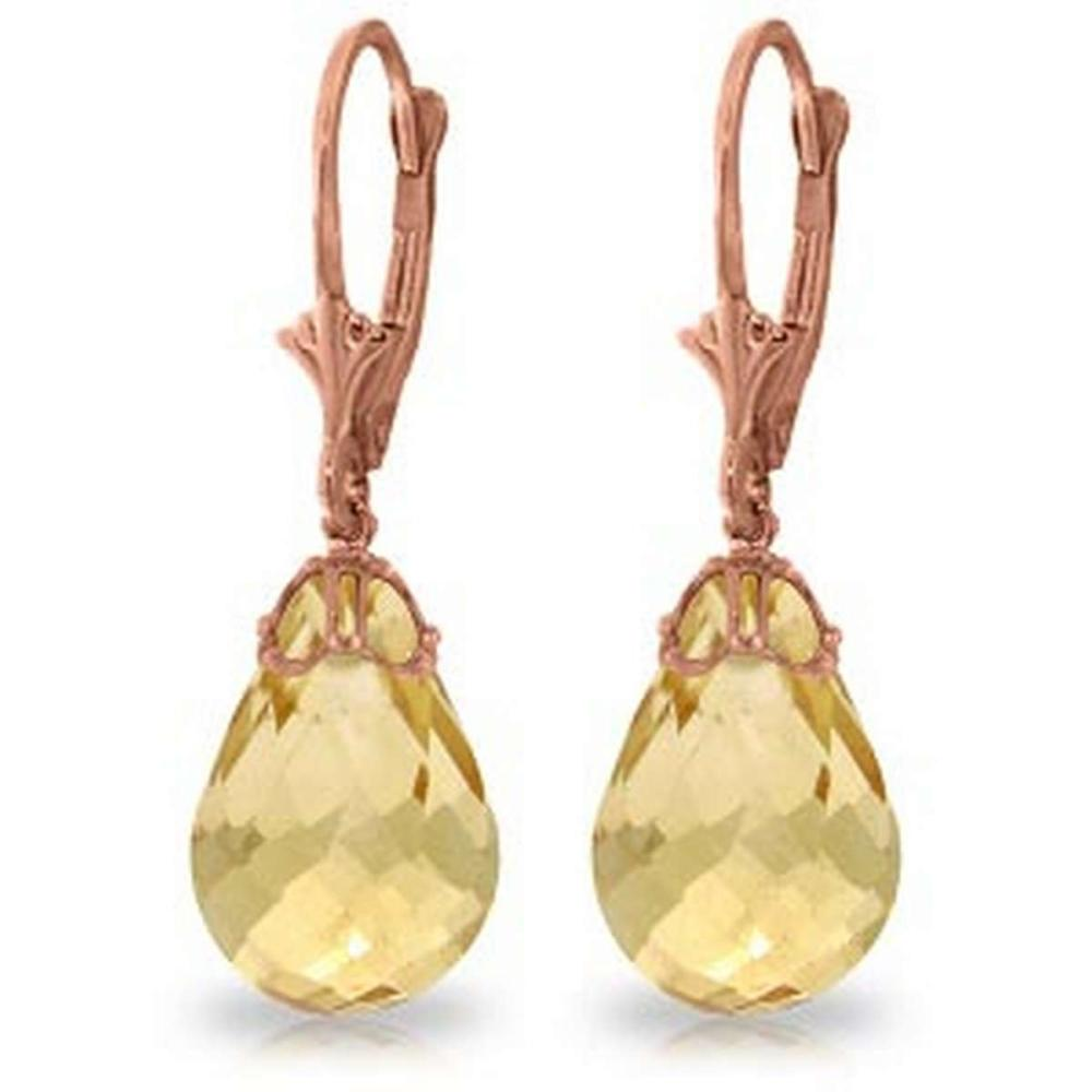 14K Solid Rose Gold Leverback Earrings with Briolette Citrines