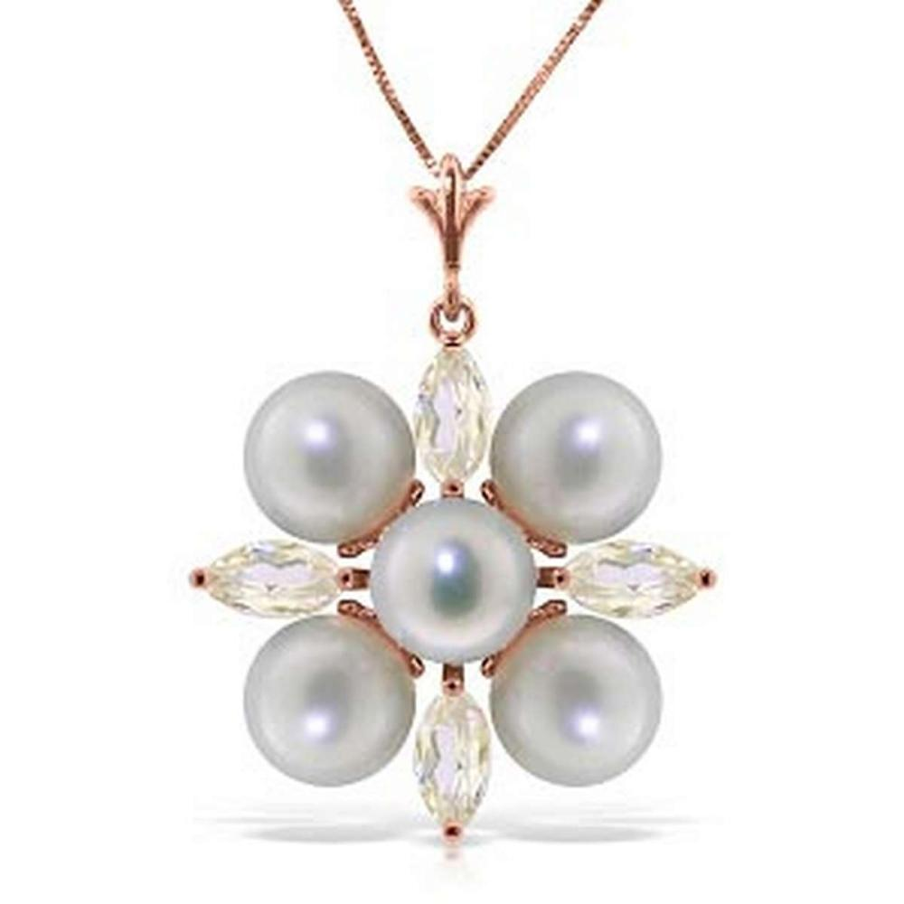 6.3 CTW 14K Solid Rose Gold Necklace Rose Topaz pearl