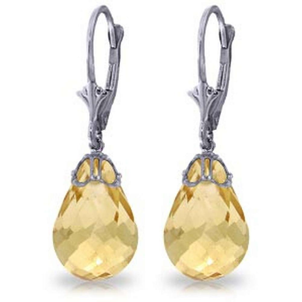 14 Carat 14K Solid White Gold Leverback Earrings Briolette Citrine