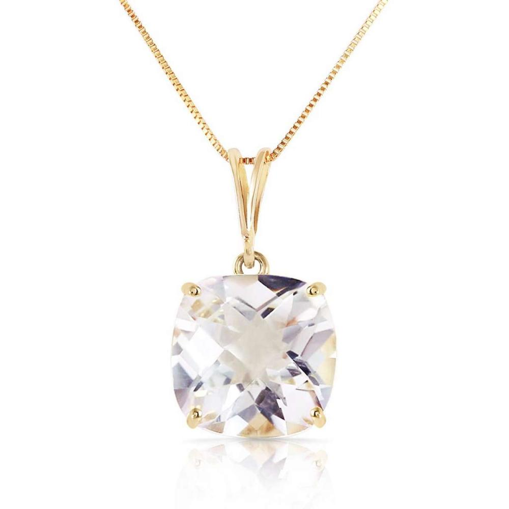 3.6 Carat 14K Solid Gold Necklace Natural Checkerboard Cut White Topaz
