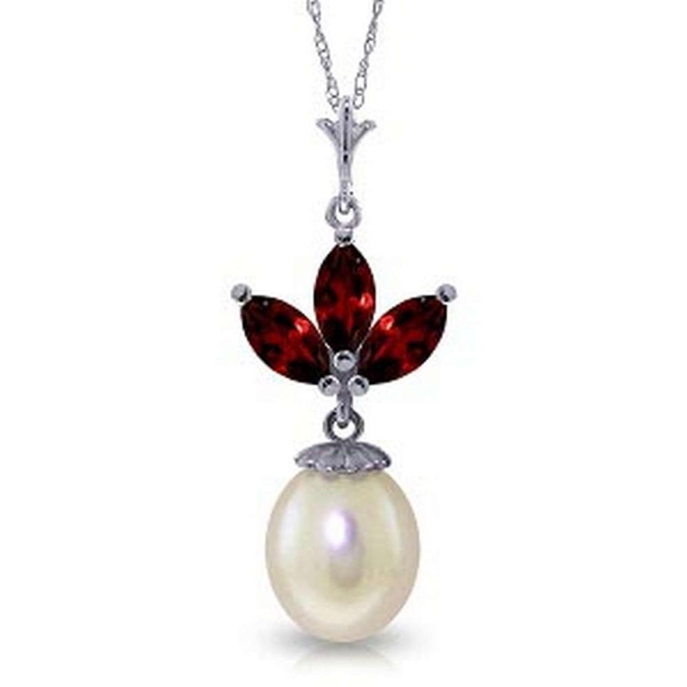 4.75 CTW 14K Solid White Gold Necklace pearl Garnet