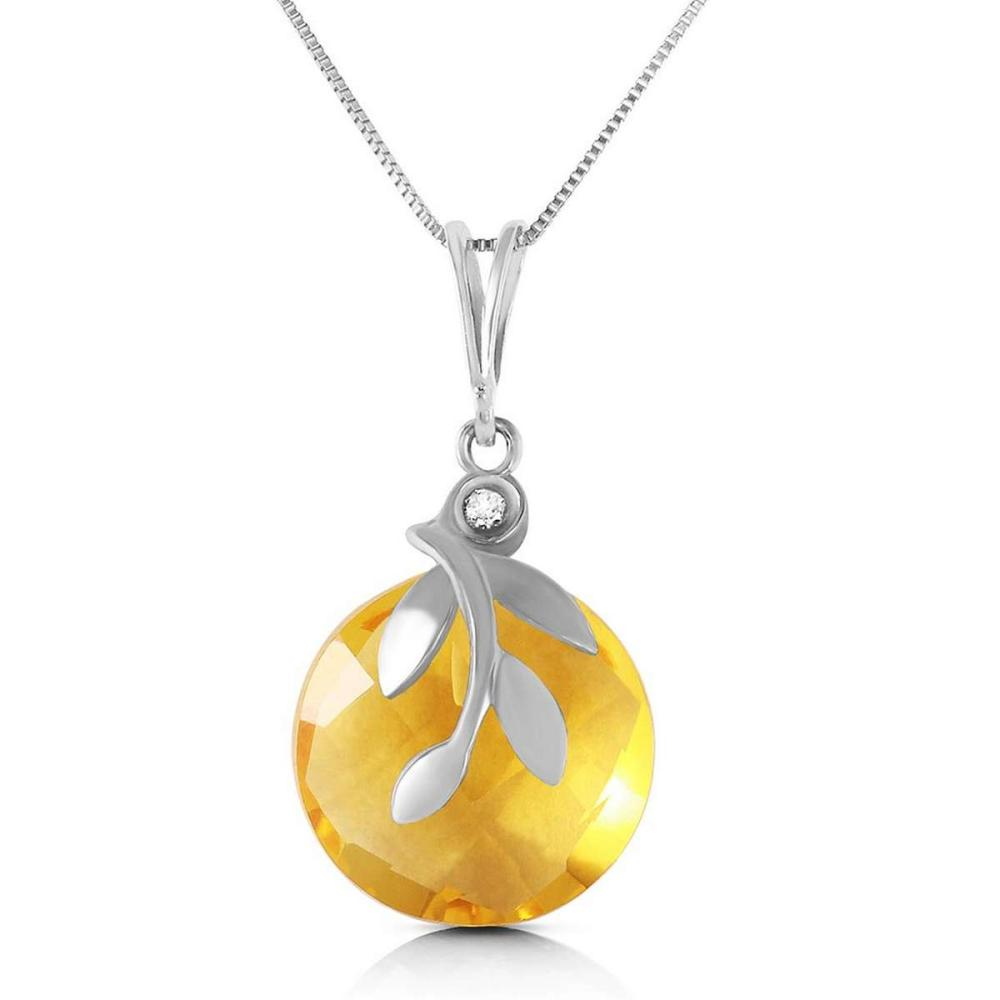 5.32 Carat 14K Solid White Gold Necklace Checkerboard Cut Citrine Diamond