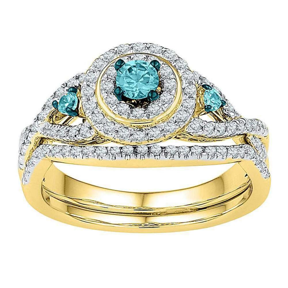 10kt Yellow Gold Round Blue Color Enhanced Diamond Bridal Wedding Ring Set