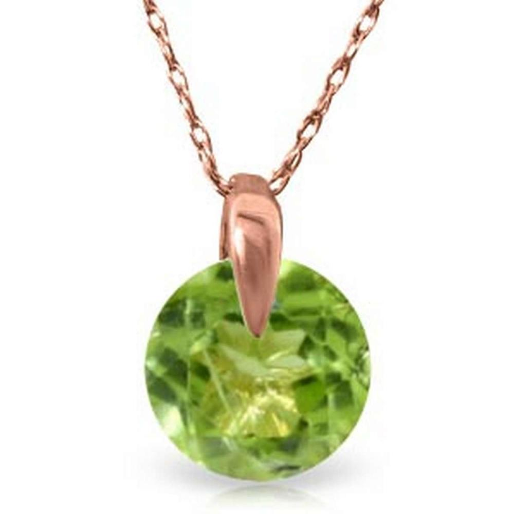 1 Carat 14K Solid Rose Gold Necklace Natural Peridot