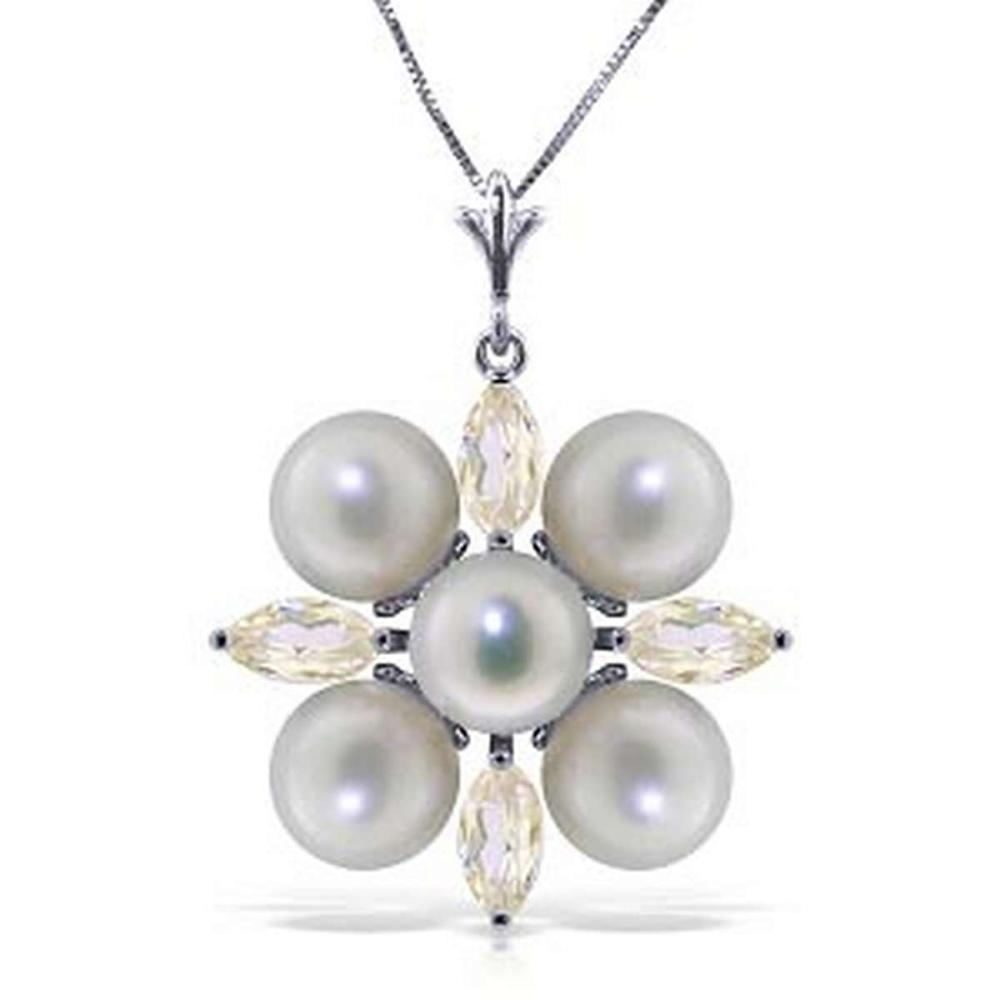 6.3 Carat 14K Solid White Gold Necklace White Topaz pearl