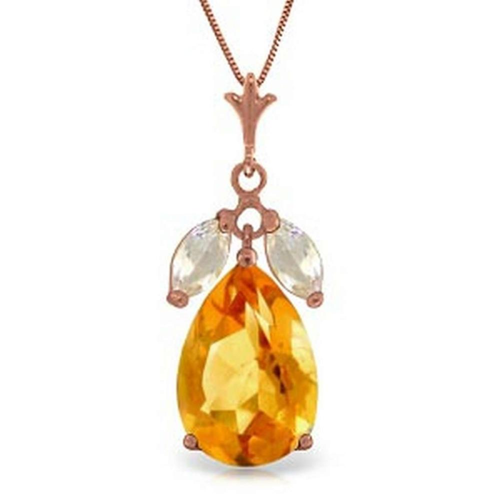 14K Solid Rose Gold Necklace with Citrines & Rose Topaz