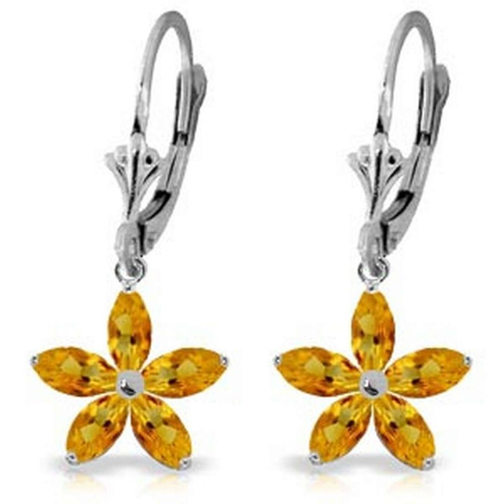 2.8 Carat 14K Solid White Gold Open The Way Citrine Earrings