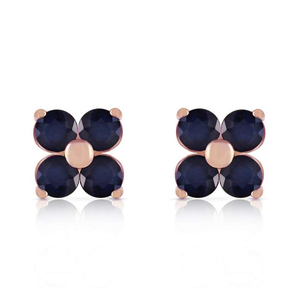 14K Solid Rose Gold Stud Earrings with Natural Sapphires