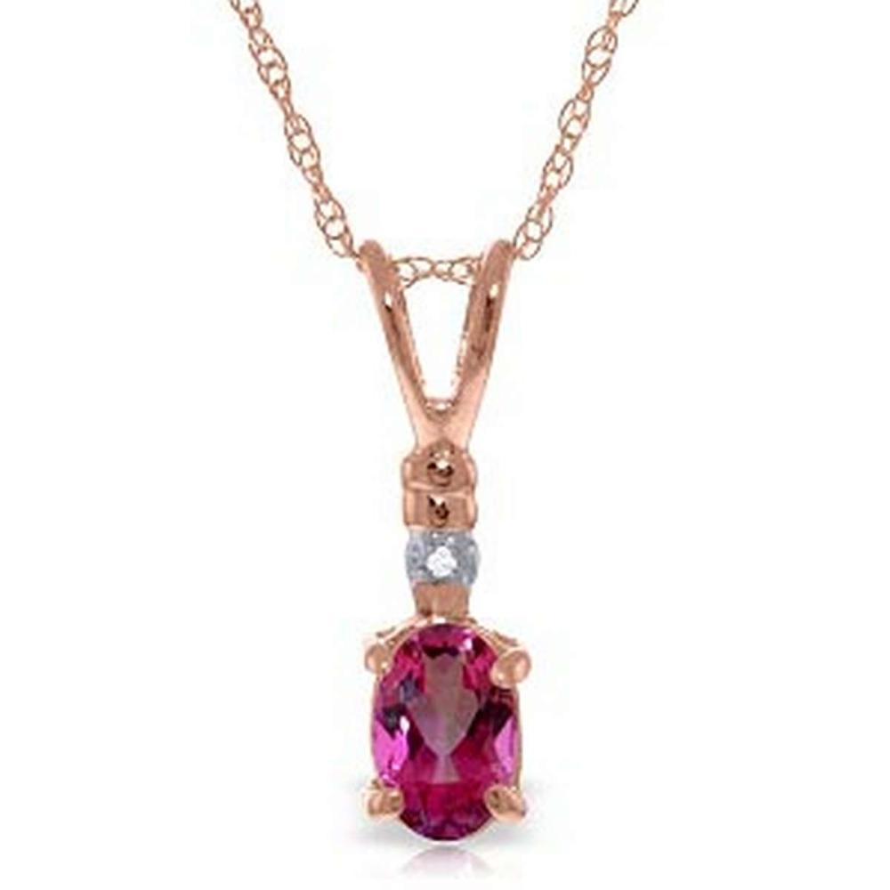 14K Solid Rose Gold Necklace withNatural Diamond & Pink Topaz