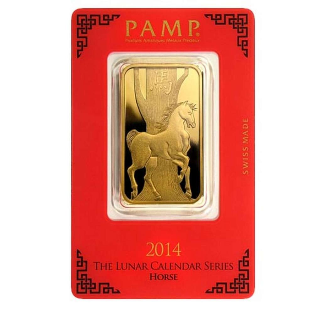 PAMP Suisse One Ounce Gold Bar - 2014 Horse Design