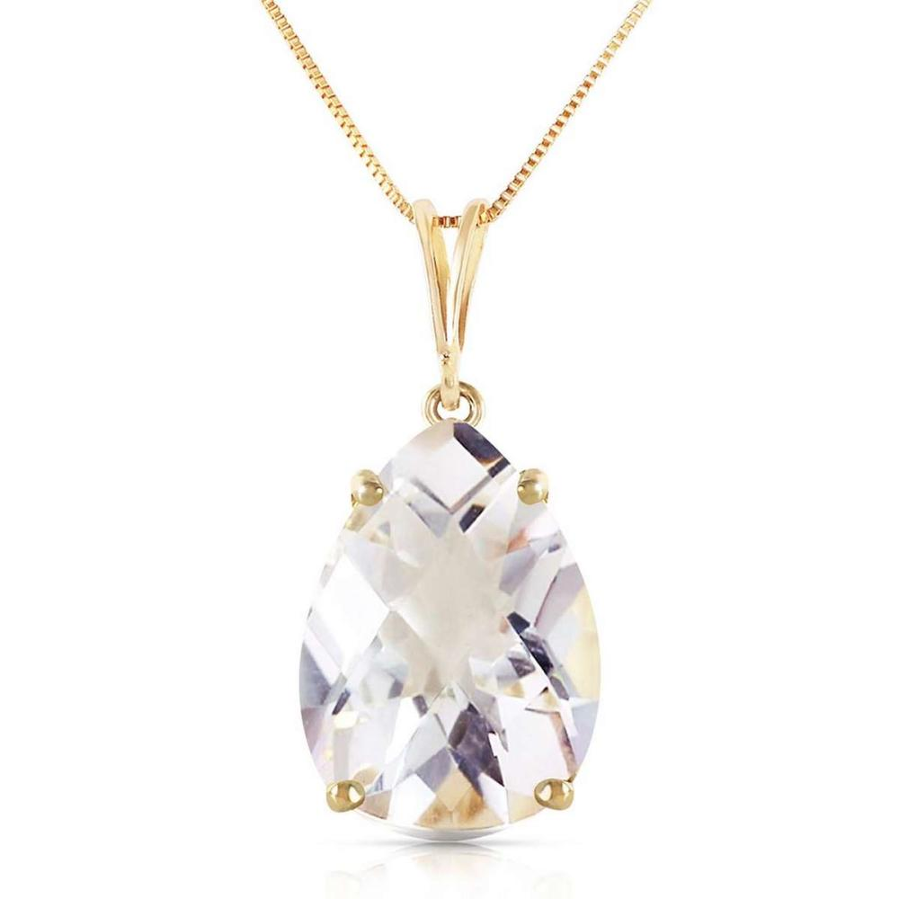 5 CTW 14K Solid Gold Necklace Natural White Topaz