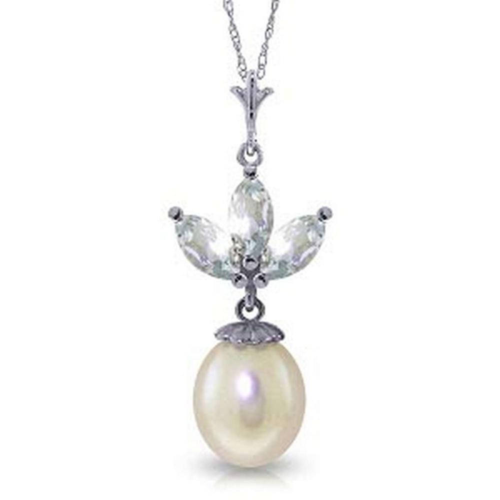 4.75 Carat 14K Solid White Gold Necklace pearl Aquamarine