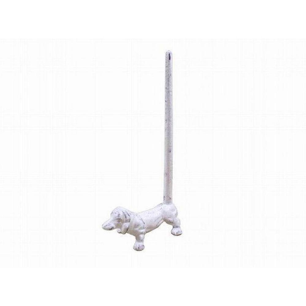 Whitewashed Cast Iron Dog Paper Towel Holder 12 in.