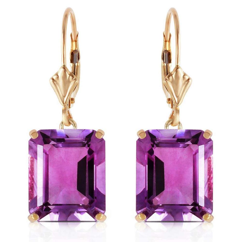 13 Carat 14K Solid Gold Leverback Earrings Amethyst