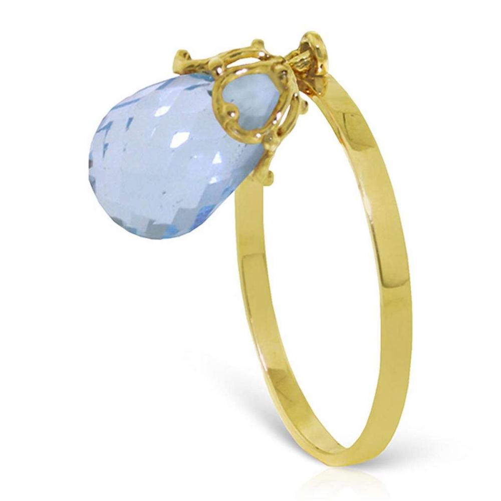 3 CTW 14K Solid Gold Ring Dangling Briolette Blue Topaz