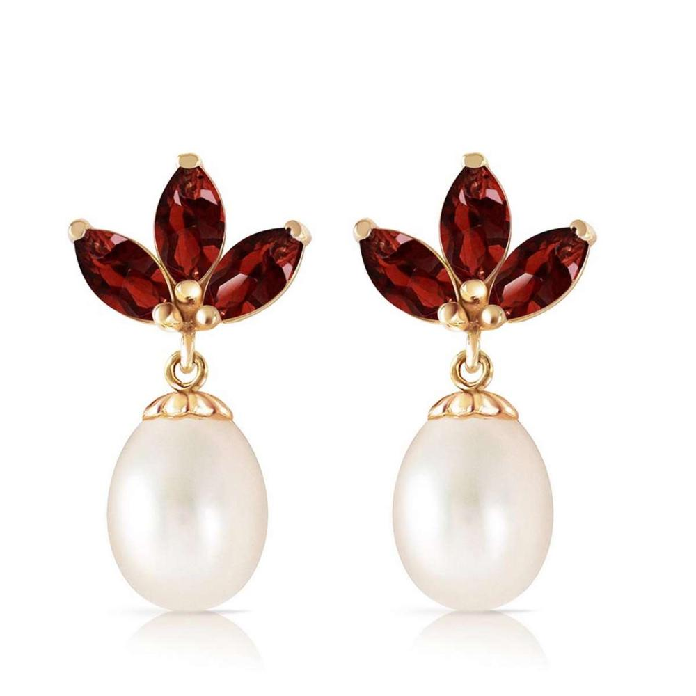 9.5 Carat 14K Solid Gold Dangling Earrings pearl Garnet