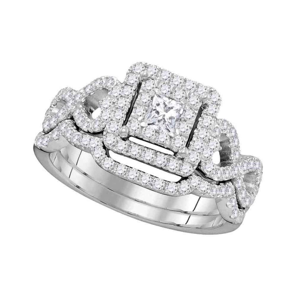 14kt White Gold Princess Diamond Bridal Wedding Engagement Ring Band Set 7/8 Ctw
