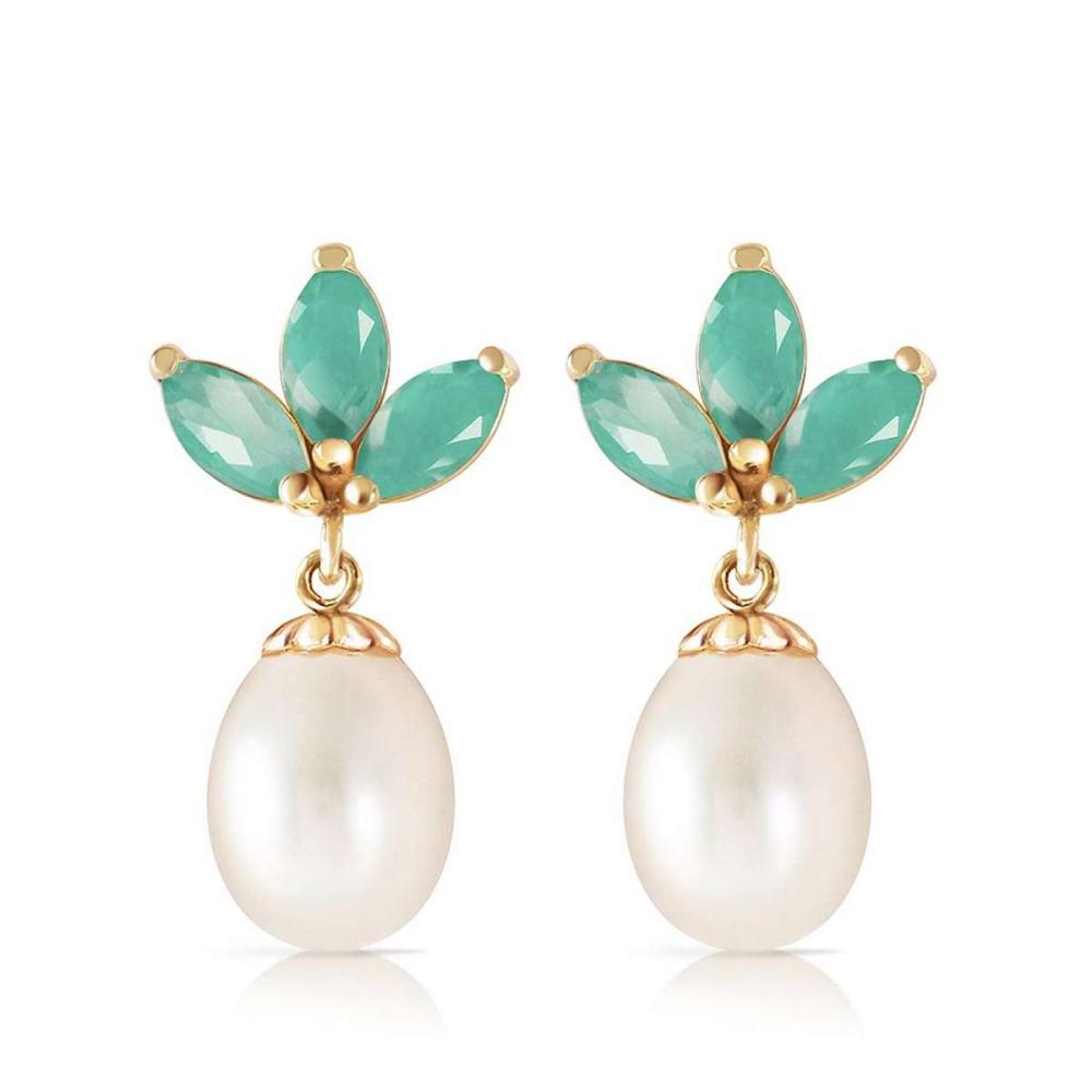 9.5 CTW 14K Solid Gold Dangling Earrings pearl Emerald