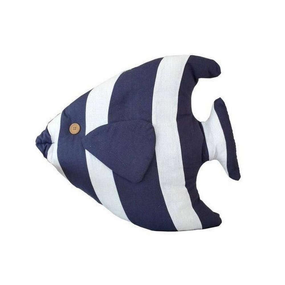 Blue Tropical Fish Pillow 18 in.