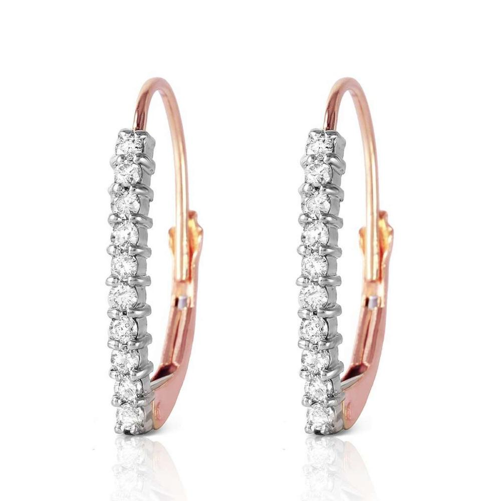 14K Solid Rose Gold Leverback Earrings withNatural Diamonds