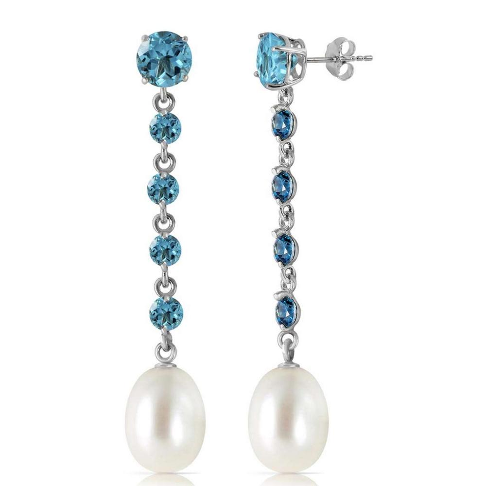 10 Carat 14K Solid White Gold Chandelier Earrings Blue Topaz pearl