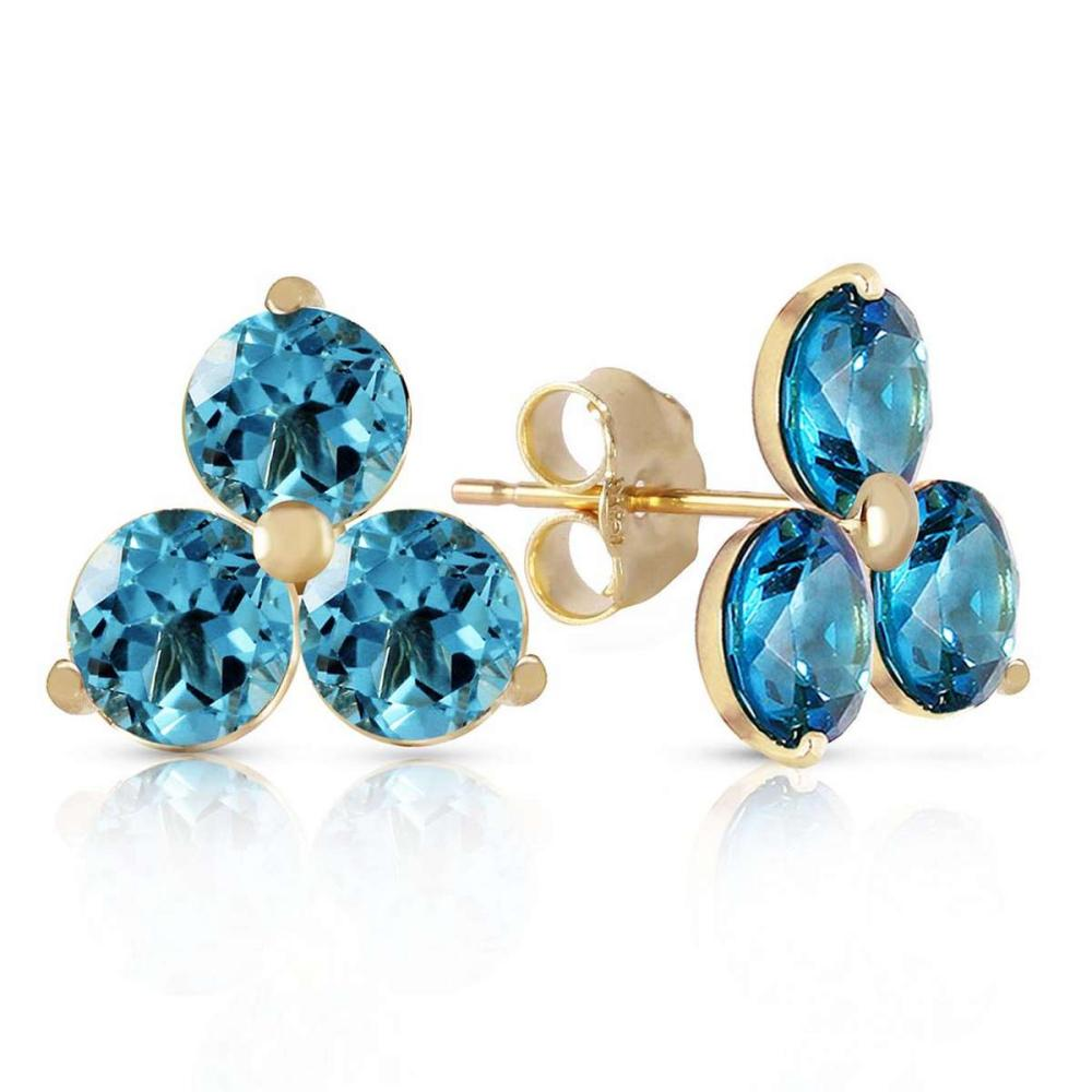1.5 Carat 14K Solid Gold Flask Of Dew Blue Topaz Earrings