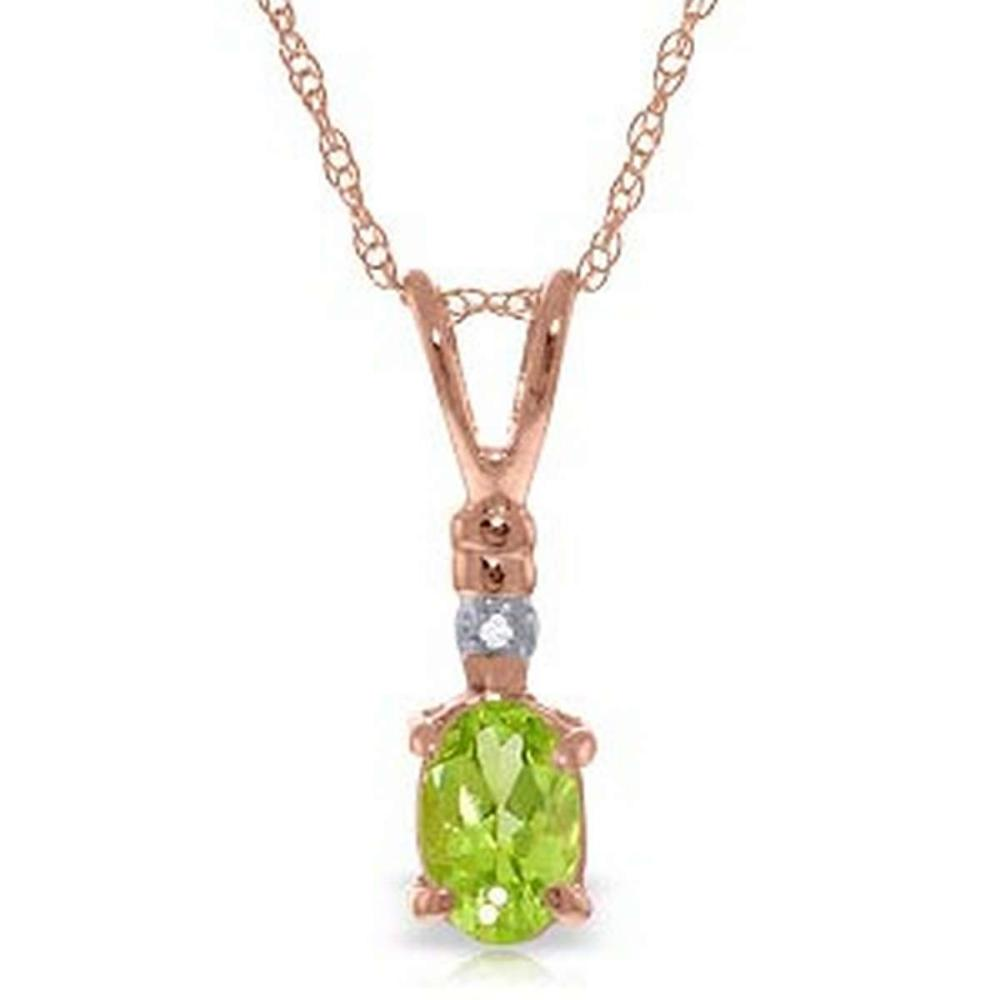 14K Solid Rose Gold Necklace withNatural Diamond & Peridot