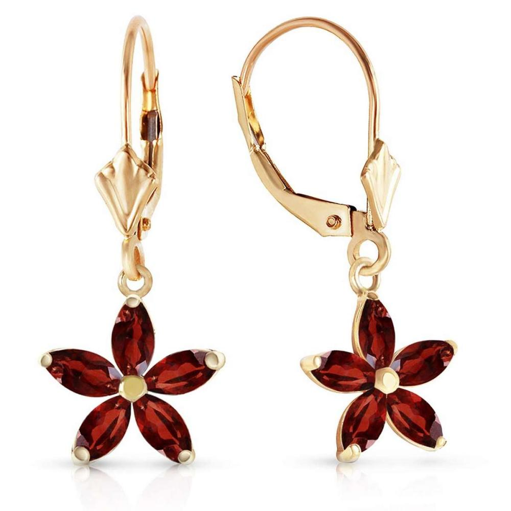 2.8 Carat 14K Solid Gold Starglow Garnet Earrings