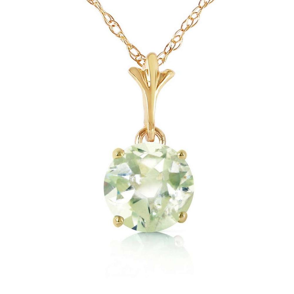 1.15 Carat 14K Solid Gold Sunday Morning Green Amethyst Necklace