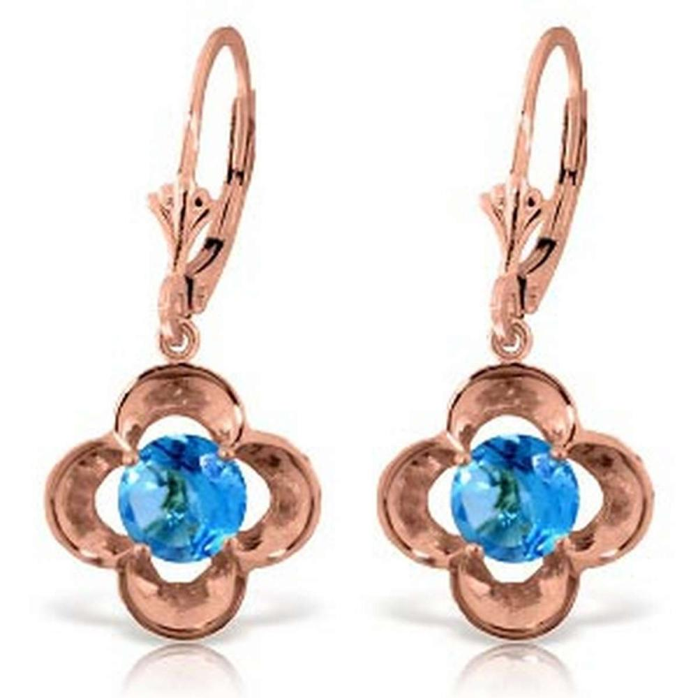 1.1 Carat 14K Solid Rose Gold Blue Topaz Bloom Earrings