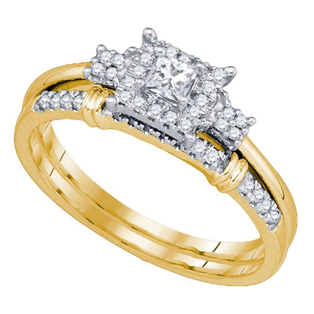 10k Yellow Gold Princess Diamond Womens Bridal Wedding Engagement Ring Band Set