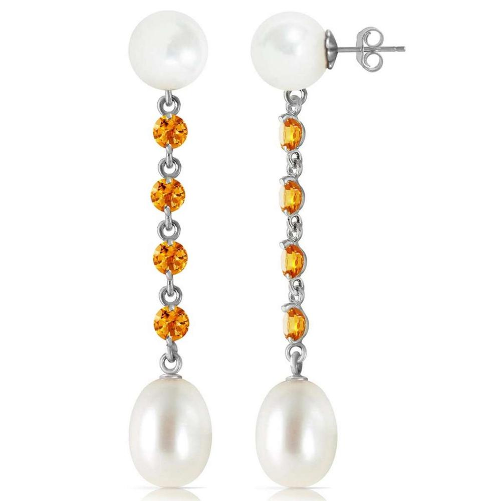 11 CTW 14K Solid White Gold Accordion Music Citrine pearl Earrings