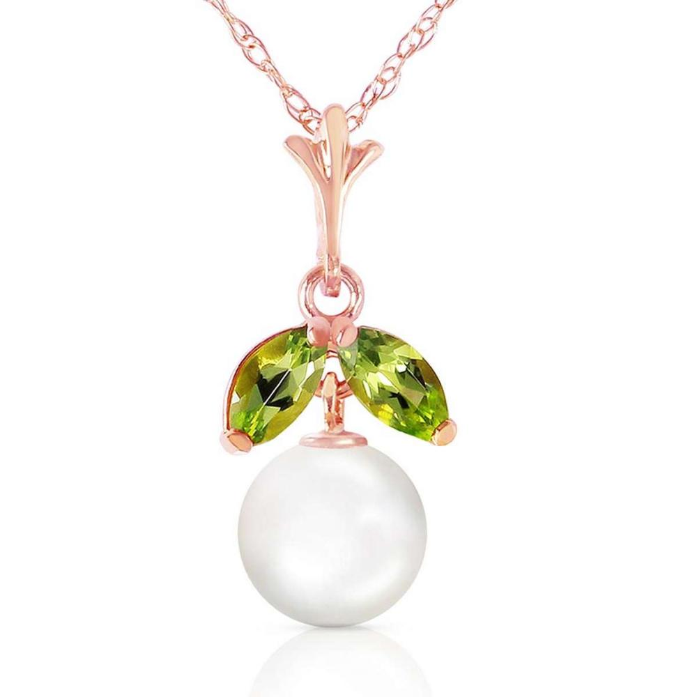 14K Solid Rose Gold Necklace with Natural pearl & Peridot