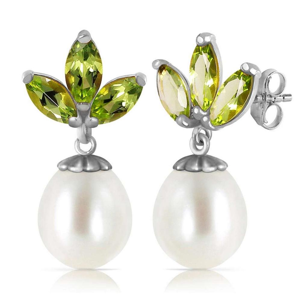 9.5 Carat 14K Solid White Gold Dangling Earrings pearl Peridot