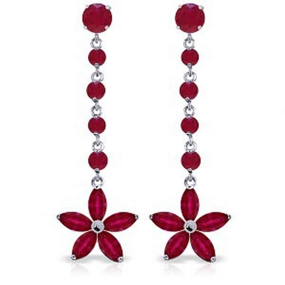 4.8 Carat 14K Solid White Gold Chandelier Earrings Ruby