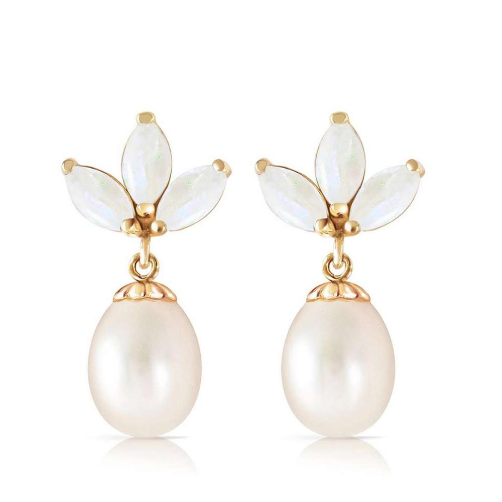 9.5 Carat 14K Solid Gold Dangling Earrings pearl Opal