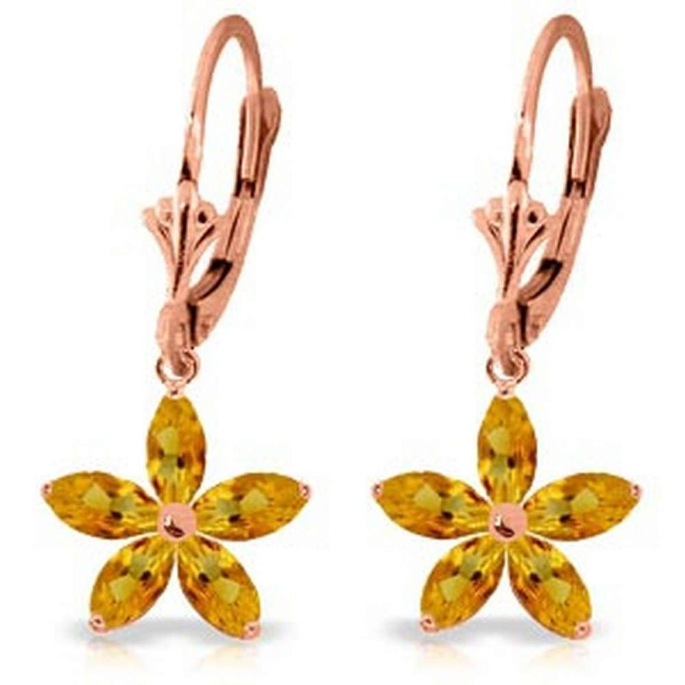 14K Solid Rose Gold Leverback Earrings with Natural Citrine