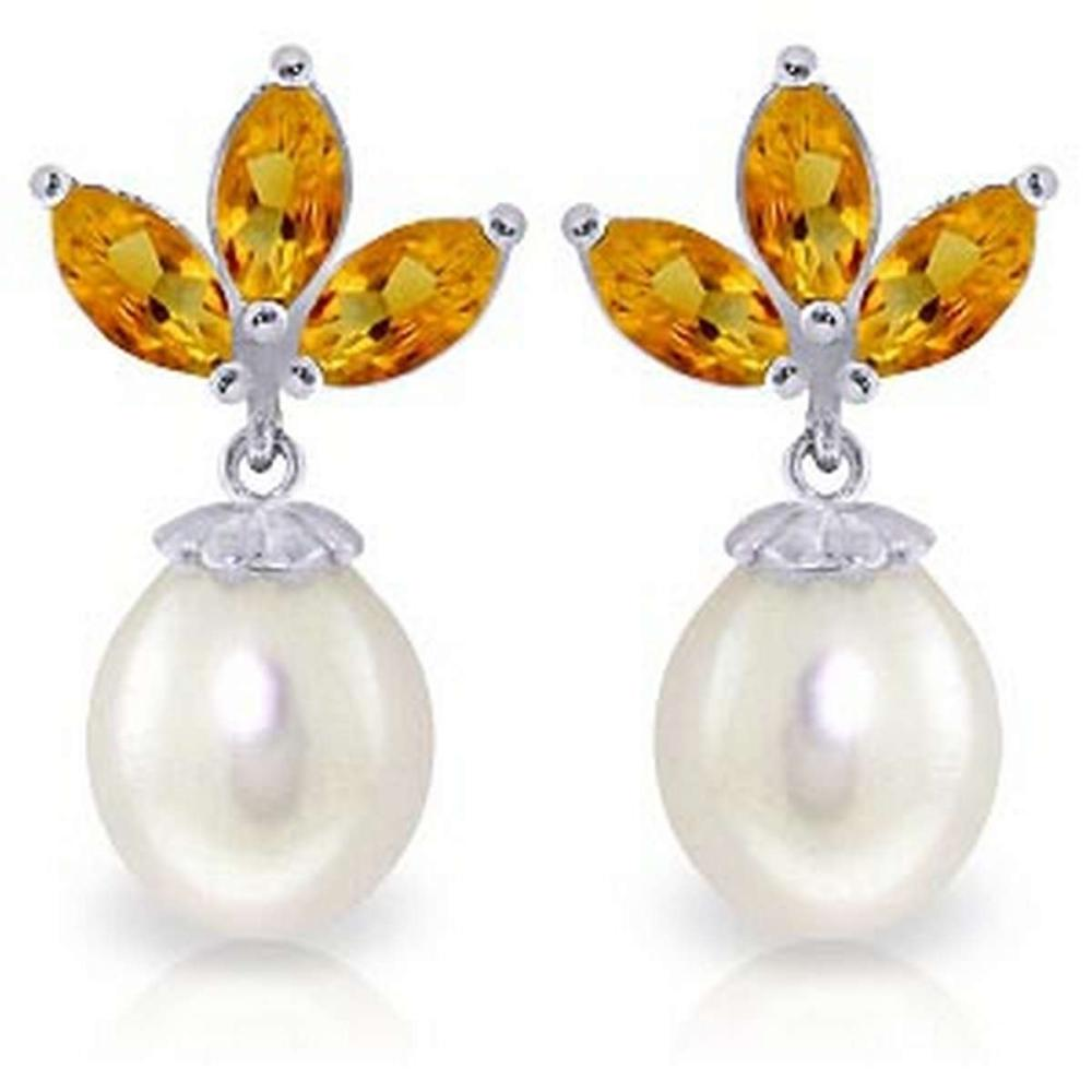 9.5 CTW 14K Solid White Gold Dangling Earrings pearl Citrine