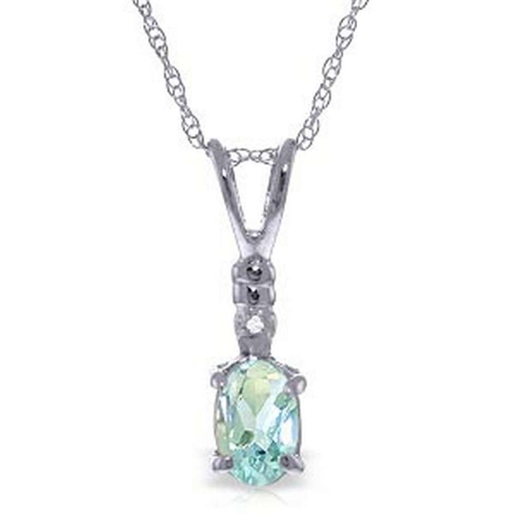 0.46 Carat 14K Solid White Gold Another Victory Aquamarine Diamond Necklace