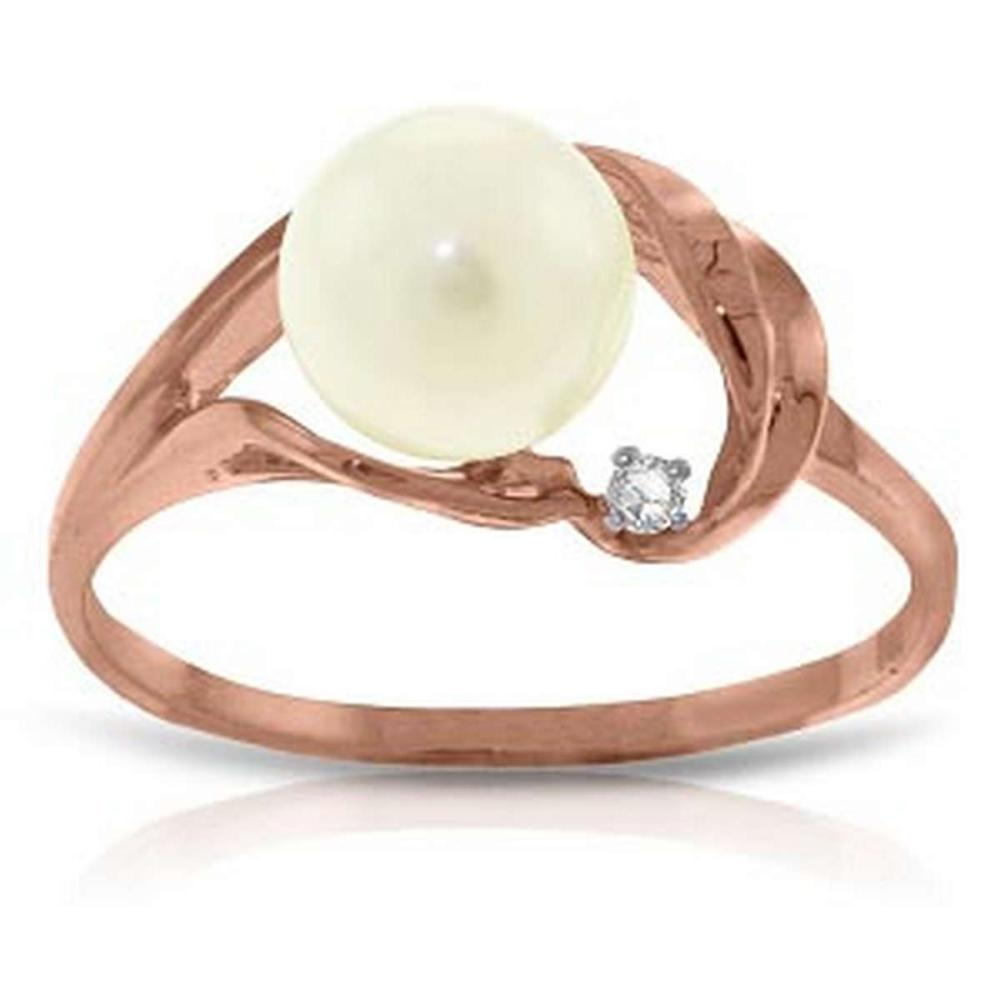 14K Solid Rose Gold Ring with Natural Diamond & pearl