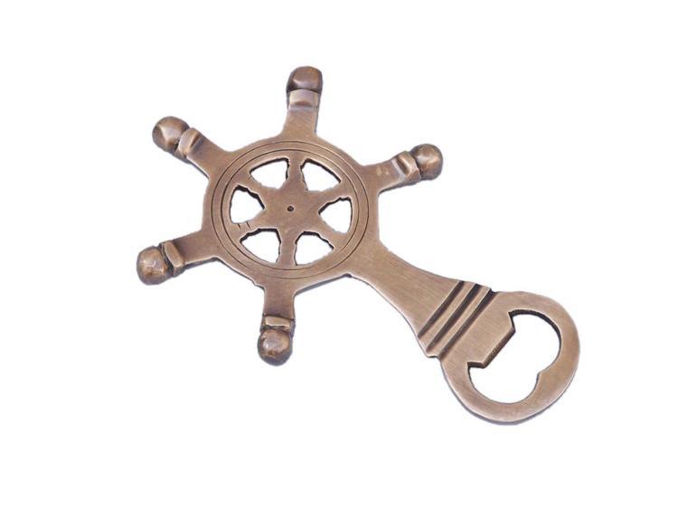Nautical Antique Style Brass Ship Wheel Bottle Opener 5