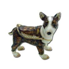 BULL TERRIER JEWELRY BOX WITH AUSTRIAN CRYSTALS 3 1/8