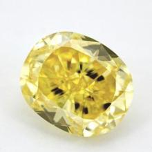 GIA Certified 0.71 Ctw Oval Fancy Yellow Diamond VVS2