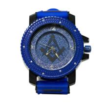BLACK ON BLUE MASONIC WATCH WITH STUDDED SILVER