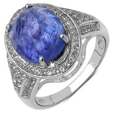 7.44 Carat Genuine Tanzanite .925 Sterling Silver Ring