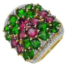 14K Yellow Gold Plated 6.50 Carat Genuine Rhodolite, Chrome Diopside & White Topaz .925 Streling Silver Ring