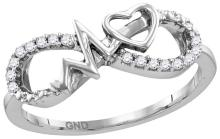 Sterling Silver Womens Round Natural Diamond Infinity Heartbeat Fashion Ring 1/10 Cttw
