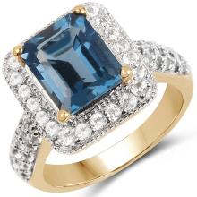 14K Yellow Gold Plated 5.14 Carat Genuine London Blue Topaz & White Topaz .925 Sterling Silver Ring